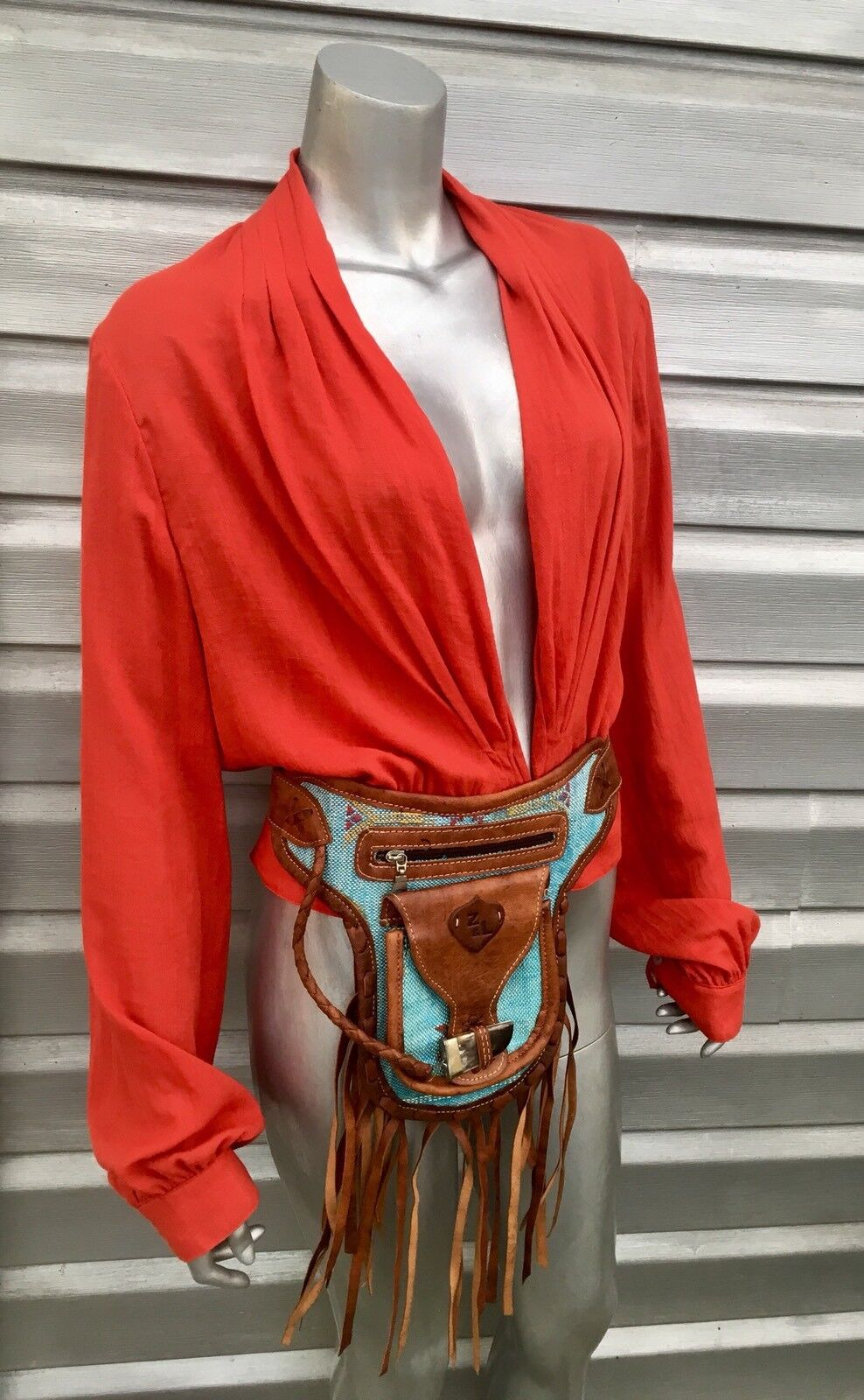 FREE PEOPLE Orange Boho Festival Billow Sleeve Blouse Top