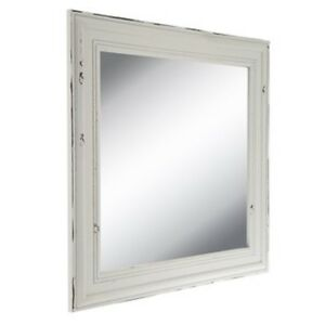 Image Is Loading Vintage Distressed White Wall Mirror Farmhouse Ranch Cabin