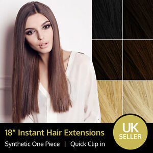 18 synthetic instant clip in full head one piece hair extension image is loading 18 synthetic instant clip in full head one pmusecretfo Choice Image