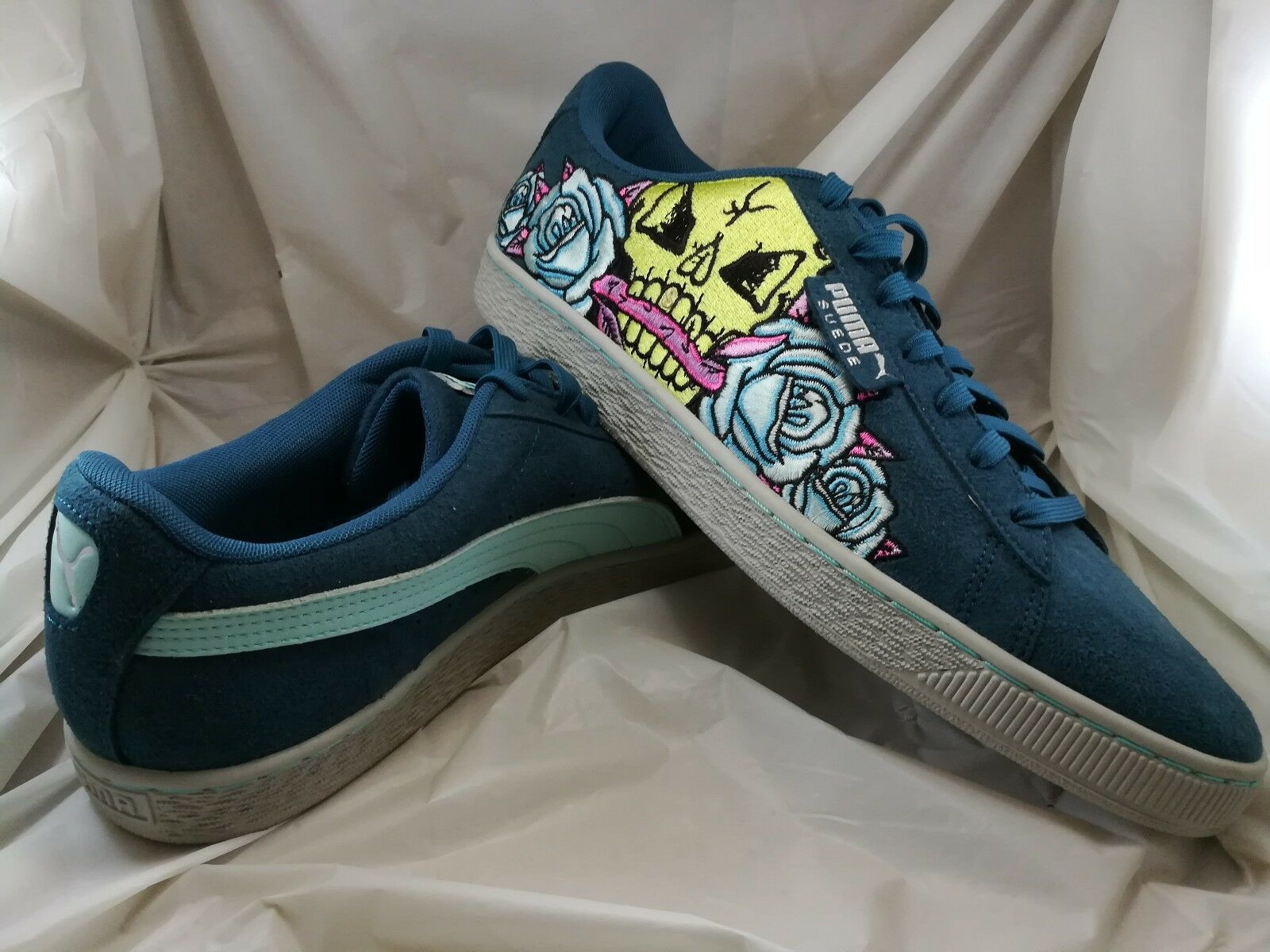 Puma Suede Court Classic- Day of the Dead Skull pinks - Size 11 -
