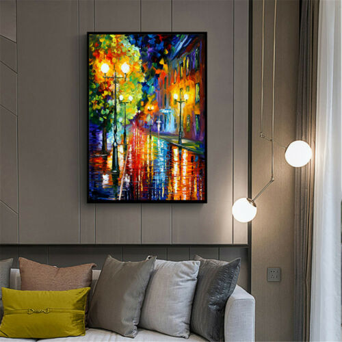 Abstract Street Landscape Watercolor Oil Painting Canvas Poster Retro Home Decor
