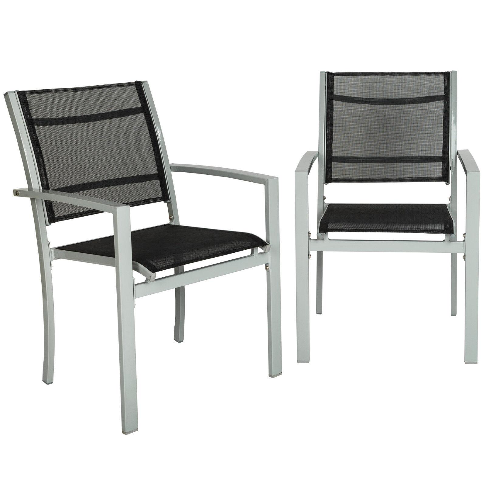 Silla de jardín sillas de balcón de jardín butaca terraza metal silla set gris