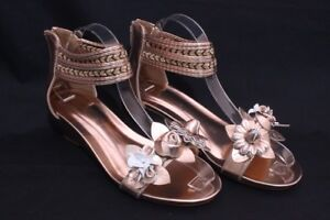 Women-039-s-Flower-Sandals-Wedge-Heel-Buckled-Ankle-Strap-shoes-Gold-939-32