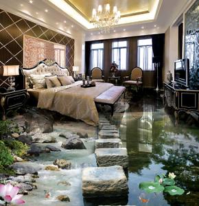3D Lake Lotus View 585 Floor WallPaper Murals Wallpaper Mural Print AJ AU Lemon