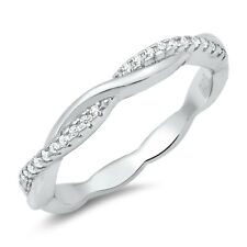 White CZ Filigree Wave Open Loop Knot Ring .925 Sterling Silver Band Sizes 4-10