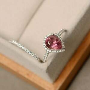 14K-White-Gold-Fn-1-6ct-pear-Cut-Natural-Pink-tourmaline-Special-Engagement-Ring