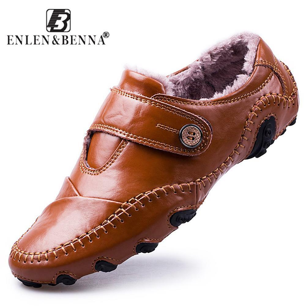 Men Casual shoes British Style Moccasins Genuine Leather Flats Footwear Men Wint