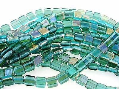 Czechmate 6mm Square Glass Czech 2-Hole Tile Beads Twilight Aqua (CZM6-W60020)