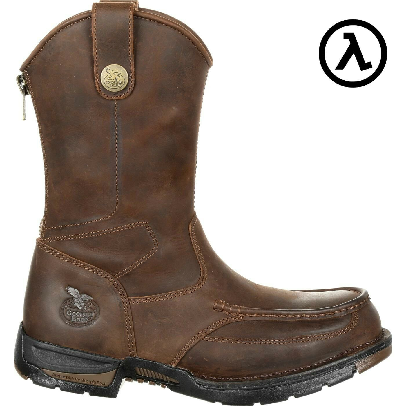 GEORGIA ATHENS PULL-ON STEEL TOE BACK-ZIP WORK BOOTS GB00246 * ALL SIZES - NEW