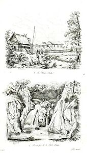 PHILIPPINES-LAGUNA-JALA-JALA-WATERFALL-VILLAGE-Original-1835-Antique-Print