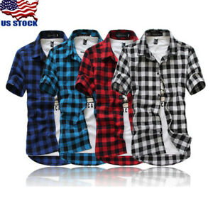 Men-039-s-Summer-Casual-Dress-Shirt-Mens-Plaid-Short-Sleeve-Shirts-Tops-Slim-Tee-USA