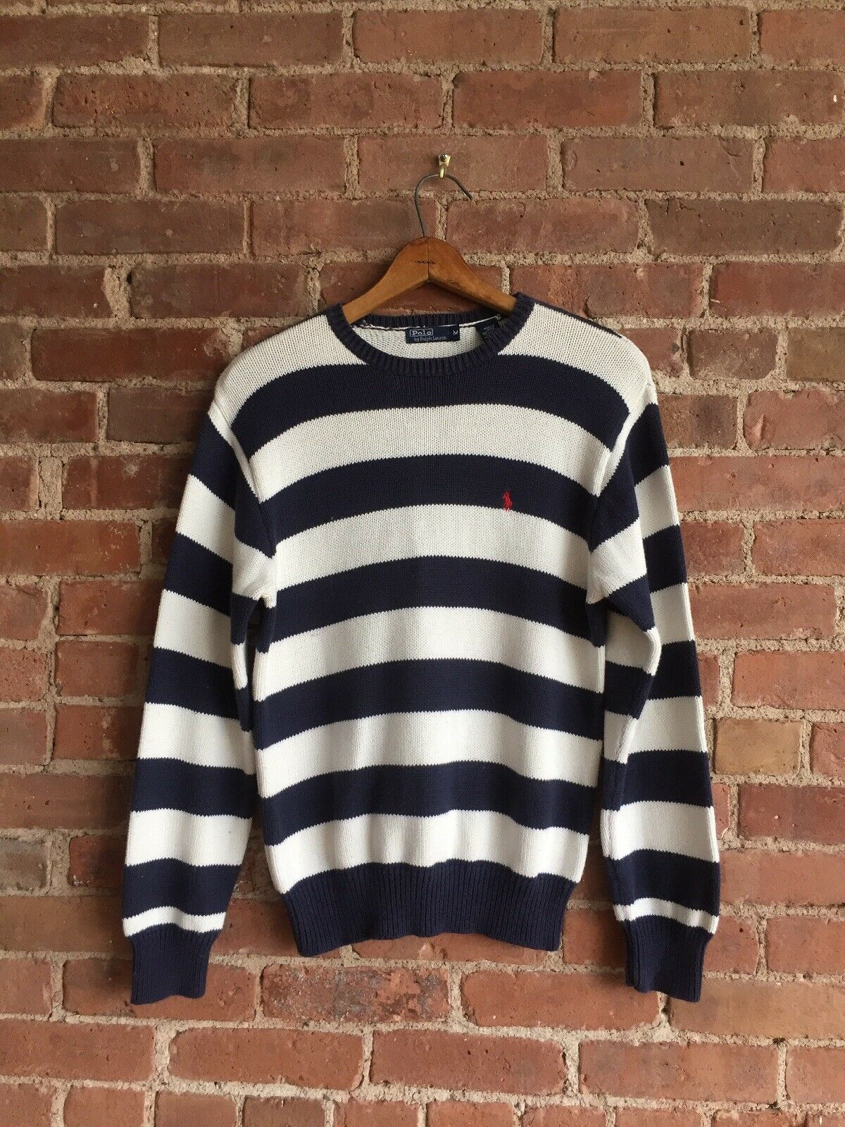 Vtg Polo Ralph Lauren Men's Sweater, Stripe 100% Cotton Sz Medium Slim, Japan