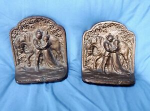 Vintage-Pair-Hubley-Cast-Iron-Bookends-Romeo-Juliet-With-Horse-Bronze-Finish-313