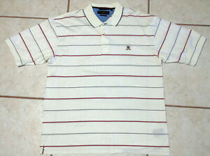 Tommy-Hilfiger-Mens-White-Striped-Short-Sleeve-Polo-Shirt-Size-XL-EUC