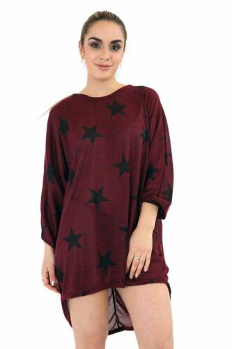 Ladies star print batwing top women loose fit baggy hi lo long top