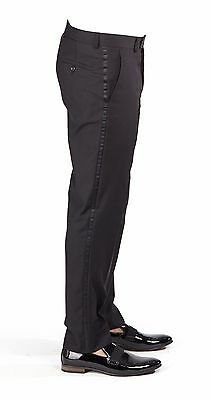 Tailored Slim Fit Navy Blue Separate Dress Pants Slacks Flat Front By AZAR MAN