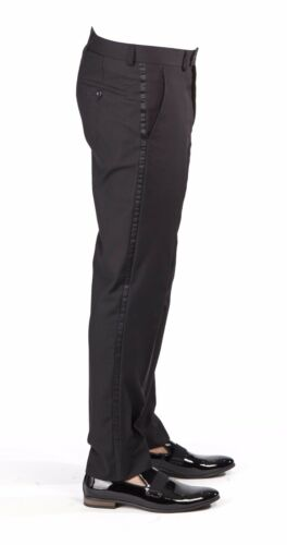 Tailored Slim Fit Tuxedo Black Separate Dress Pants Slacks Flat Front AZAR MAN