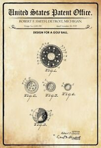 Us-Patent-Golf-Ball-1939-Metal-Sign-Signboard-Arched-Metal-Tin-Sign-20-x-30-Cm