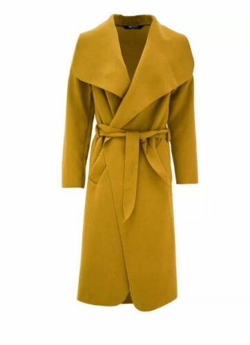 WOMENS BELTED WATERFALL DRAPED LONG COAT LADIES CAPE CARDIGAN TRENCH JACKET