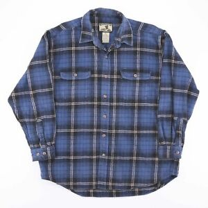 Vintage-FIELD-amp-STREAM-Blue-Check-Heavy-Flannel-Shirt-Size-Men-039-s-XL
