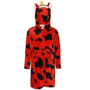 Kids-boys-3d-red-animal-cow-bathrobe-robe-fleece-pajamas