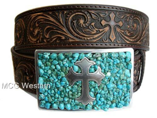 Nocona Western Womens Belt Leather Brown Turquoise Cross Buckle N3423002