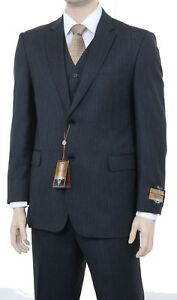 $475 Alfani RED Black Tonal Striped Slim Fit 100/% Wool Two Button Suit