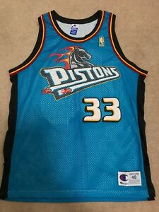size 40 28921 cb342 Details about GRANT HILL AUTHENTIC CHAMPION JERSEY GOLD LOGO DETROIT  PISTONS SZ 48 ROOKIE
