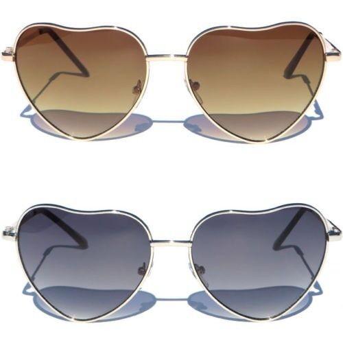 Retro Vintage Fashion Lolita Heart Shaped Aviator Metal Frame Sunglasses Women