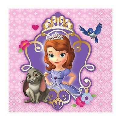 16 Disney Sofia the First Party Disposable 5in 2ply Beverage Napkins Serviettes