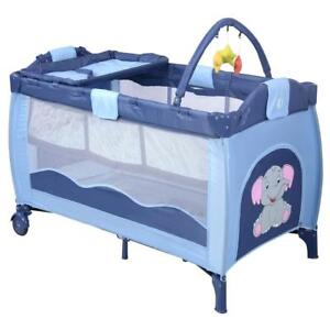Letto Pieghevole.Baby Travel Cot With Mattress Folding Crib Bed And Carry Bag Blue