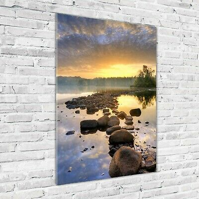 Wand-Bild Kunstdruck aus Hart-Glas Hochformat 70x100 Meerauge Hohe Tatra