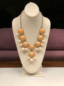 Vintage-Peach-Cream-beaded-extra-large-bib-statement-necklace-20-Inches-Long