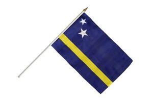 Curacao Stockflagge Flaggen Fahnen Stockfahne 30x45cm