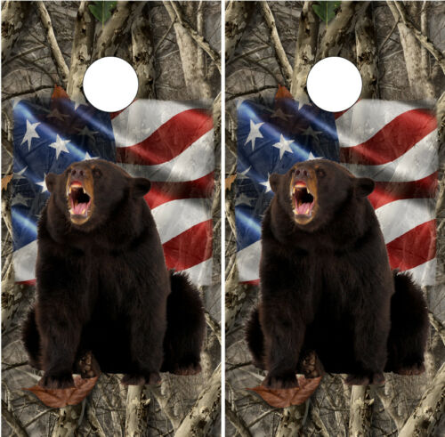 American Flag Hunting Bears Cornhole Wraps Boards Decals Bag Toss Game Stickers