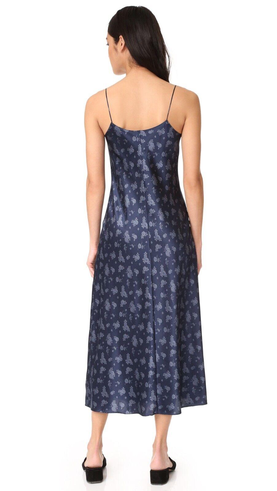 NWT Vince Vince Vince Floral Slip Dress Satin Silk Coastal bluee (Navy) Size S, M  325 699551