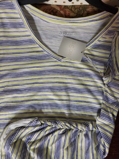 Womens a:glow Maternity Top NEW Short Sleeves Blue Striped Shirt Small V-Neck