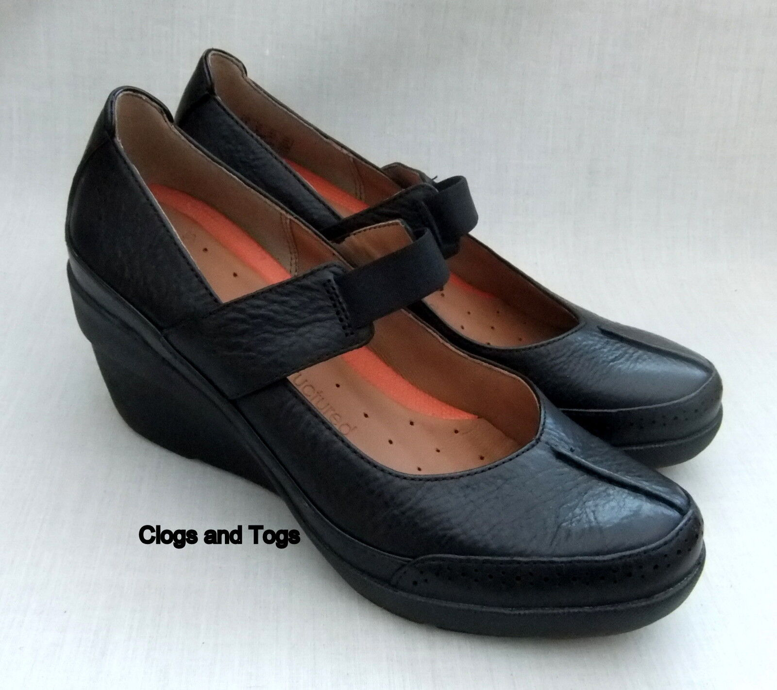 NEW CLARKS CLARKS NEW UNSTRUCTUROT UN CHELSEA Damenschuhe BLACK LEATHER WEDGE Schuhe 5c957a