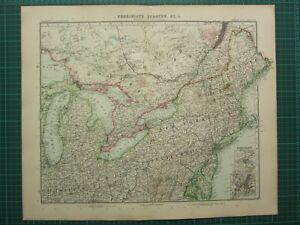 Map Of New York Ohio Area.Details About 1907 Dated Map North East United States New York Ohio Pennsylvania Maine Boston
