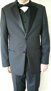 Mens-Pure-Wool-Tuxedo-Formal-Black-Tie-46L-117cm-Classic-Fit-Dinner-Suit