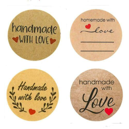 500PCS Hand Made With Love Stickers Handmade Homemade Thank You Labels n V2K8