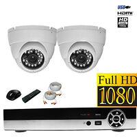 2x 1200 Tvl Cctv Security Camera Kit Hd 4 Channel Dvr Hdmi 960h 20m Ir Led