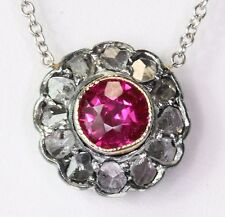 Victorian 14K Gold Ruby w/ Sterling Silver Set Rose Cut Diamond Pendant Necklace
