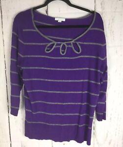 New-York-amp-Company-Women-039-s-Pullover-Sweater-Purple-amp-Gray-Size-XL-3-4-Sleeve