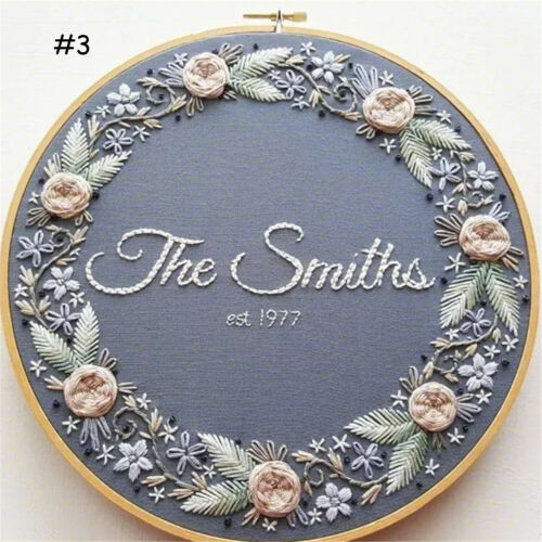 Hand Embroidery Starter Stitch Kits Sewing Craft Monogram Embroidery Hoop