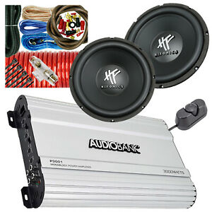 "2x Hifonics HFX12D4BK 12"" 4 Ohms DVC Subwoofer 1600W + 3000 Watts Amp + 4 Ga Kit"