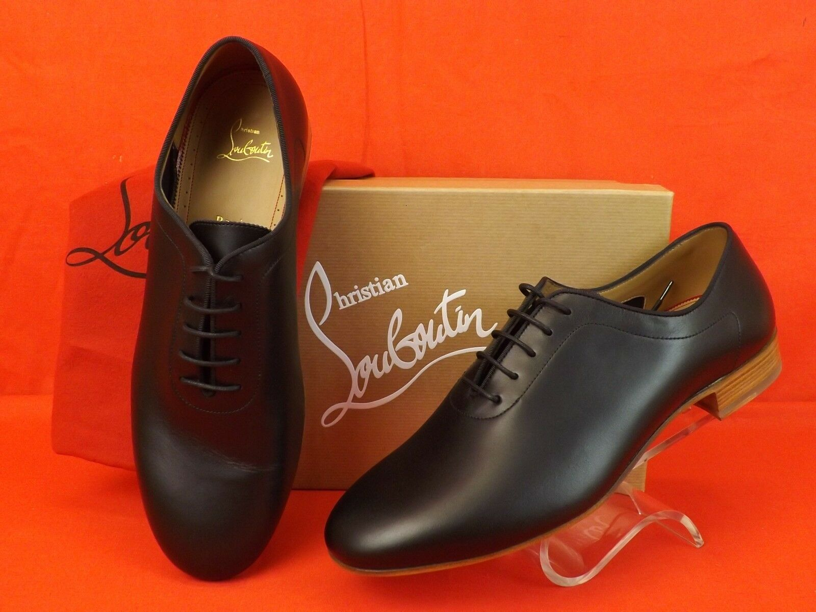 NIB LOUBOUTIN AC ALFrosso nero SMOOTH LEATHER LACE UP OXFORDS scarpe 45 12