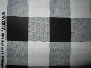 Details About Waverly Black White Gingham Cotton Quilting Fabric 1 Yards