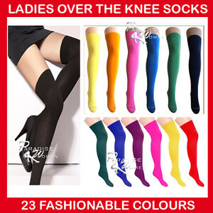 LADIES-OVER-THE-KNEE-SOCKS-LADIES-THIGH-HIGH-SOCKS-22-Colours