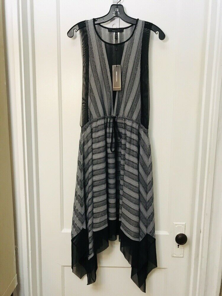 BCBG MAX AZRIA SLEEVELESS ASYMMETRICAL HEM MESH DRESS NEW Größe XXS